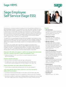 Sage HRMS Employee and Manager Self Service Brochure ESS (PDF)