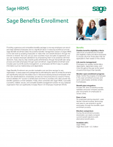 Sage HRMS Benefits Enrollment Feature Sheet (PDF)