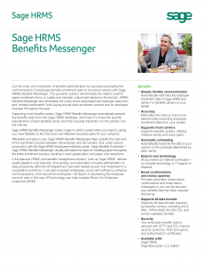 Sage HRMS Benefits Messenger Feature Sheet (PDF)