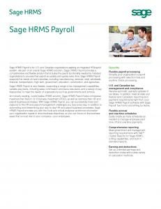 Sage HRMS Payroll Brochure (PDF)