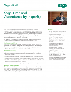 Sage HRMS Time and Attendance by Insperity Brochure (PDF)