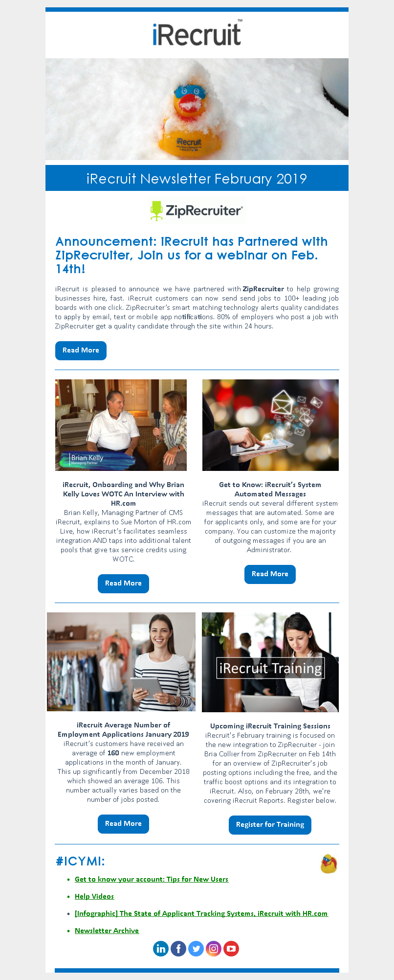iRecruit Customer Newsletter February 2019