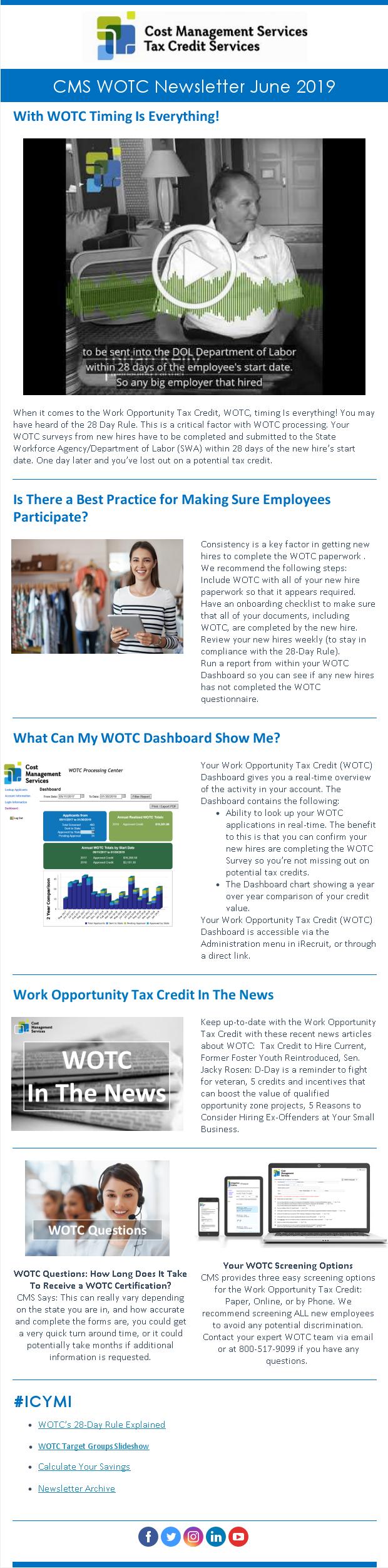 WOTC Customer Newsletter June 2019