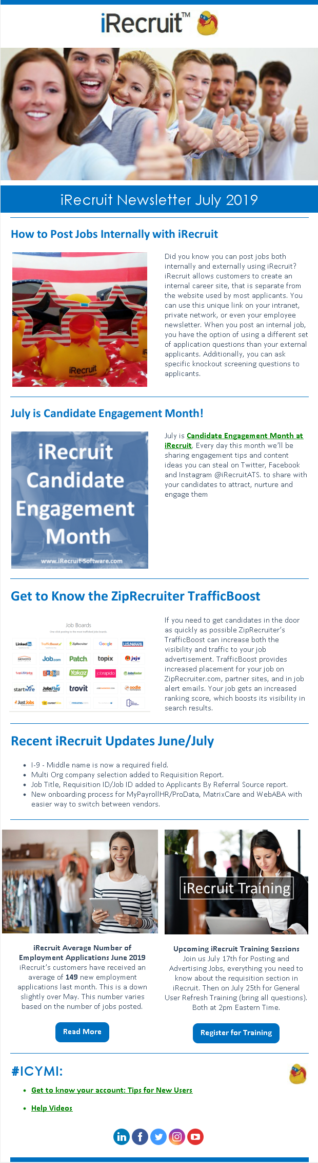 iRecruit Customer Newsletter July 2019